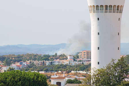 fireplace: Fire in Portimão city in Portugal. Stock Photo