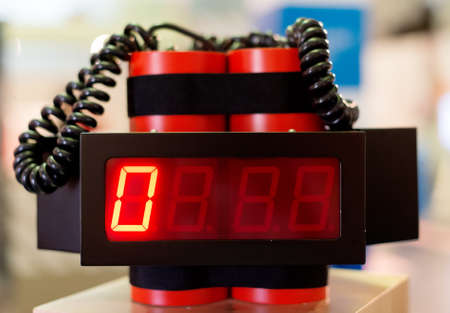 Red bomb with clock counter timer. Stock Photo