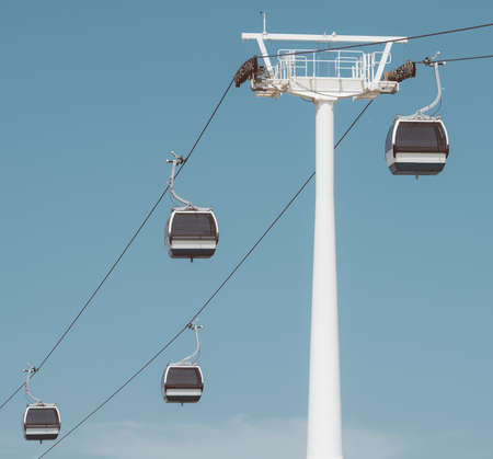 Passenger cable way cabins in the sky.
