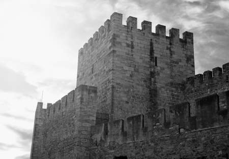 Castle of St. George in Lisbon, Portugal. Black and white. Editorial