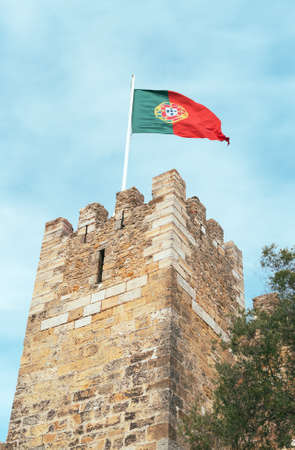 Castle of St. George with Portugal flag in Lisbon. Editorial