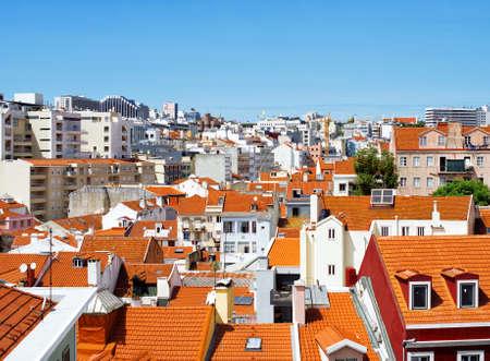 Aerial view of Lisbon city center.