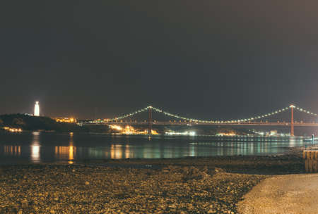 Bridge of 25th april in Lisbon at night.