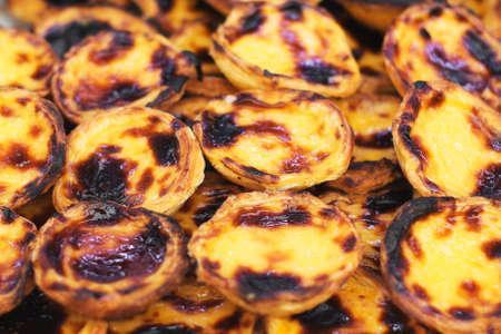 파스텔 드 nata입니다. 포르투갈 전통 파이. 스톡 콘텐츠