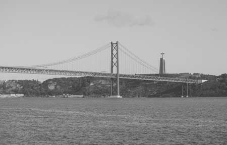 Bridge  in Lisbon. Black and white.