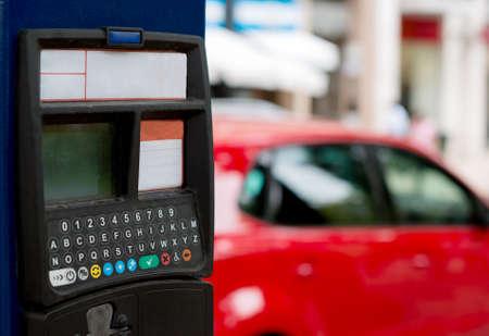 Self service car parking machine on the street.
