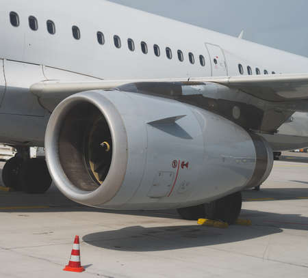 Close-up view of aircraft reaction engine.