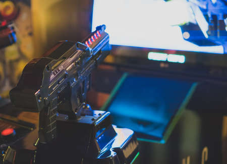 Shooter simulator game in theme park. Stockfoto