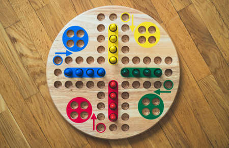 Ludo board family game. Close-up view.