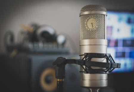 Professional tube condenser microphone in the record studio. Stock Photo