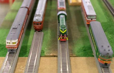 Various soviet train models on exhibition.