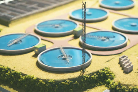Scale model of urban wastewater treatment plant.