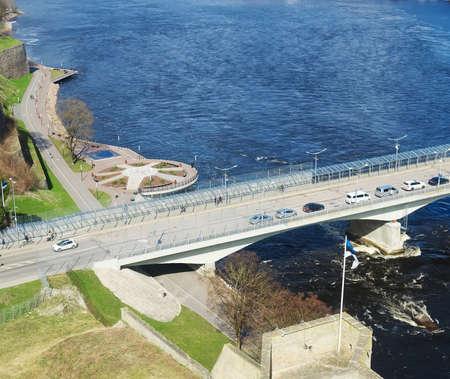 The bridge between Ivangorod and Narva. Border of Estonia and Russia. Banco de Imagens