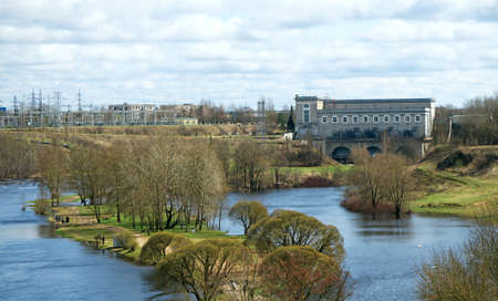 Narva Hydroelectric Station in Ivangorod, Russia.