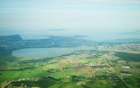 View from the plane to lake Ulemiste, Airport and Peetri village.