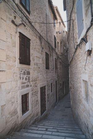 Beautiful narrow old street in Split, Croatia.
