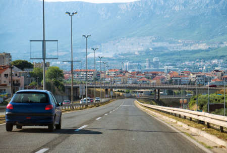 Long highway thru the Split city in Croatia.