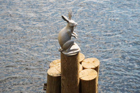 Monument Hare, fleeing flood in Saint-Petersburg, Russia.