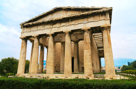 View of Temple of Hephaestus in Athens, Greece.