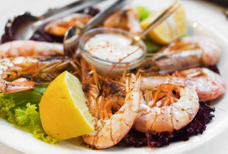 Grilled king prawns with mediterranean sauce. Stock Photo