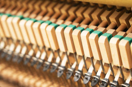 Close-up view of hammers inside the piano.