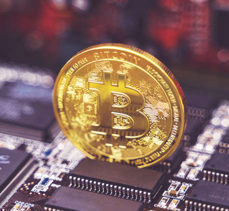 Golden bitcoin and video card. Cryptocurrency mining concept. Stock Photo