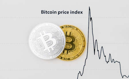Physical bitcoins and Bitcoin Price Index on the paper.