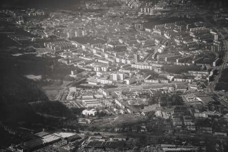Aerial view of urban area. Mustamae, Tallinn, Estonia. Black and white.