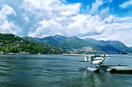 Floatplane or seaplane on Como lake.