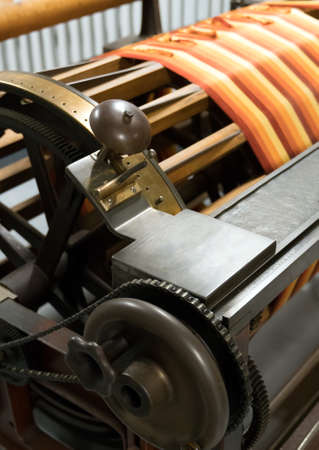 Sectional warping machine. Used to prepare the warp on the beam. 免版税图像