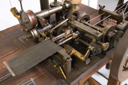 Old reed binding machine for weaving.