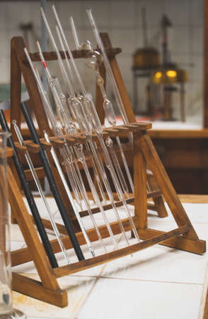 Old glass pipettes in a chemistry lab.