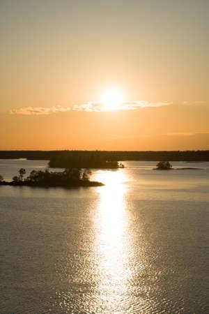 Beautiful summer sunset in the baltic sea. Stockholm archipelago. 写真素材