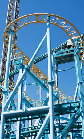 Part of a roller coaster in amusement park.
