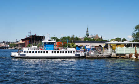 View of the sightseeing boat in Stockholm at summer.