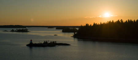 Beautiful summer sunset in the baltic sea. Stockholm archipelago. Stock Photo