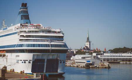 Ferry moored in the port of Tallinn, Estonia.