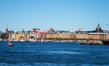 View of the summer Stockholm with ships and boats.