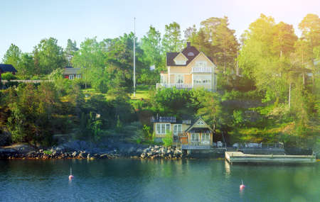 Beautiful summer view of houses near the baltic sea. Stockholm archipelago.