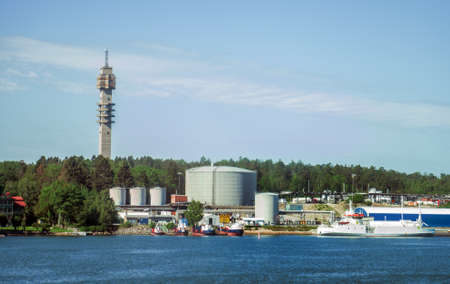 Old television tower and oil terminal in Stockholm.