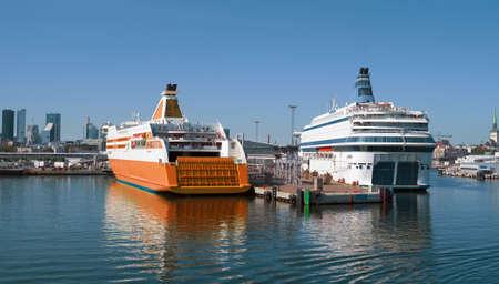 Two ferries in the port of Tallinn, Estonia.