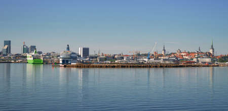 Port of Tallinn and old town in Estonia.