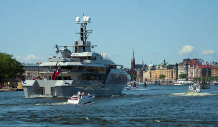 Private luxury ship with helipad heading to the port of Stockholm. Stok Fotoğraf - 129929681