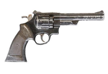 Pistola revólver aislado sobre fondo blanco. Foto de archivo