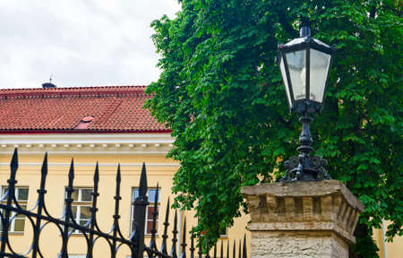 Lantern on the fence in the old town of Tallinn.