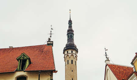 View of the town hall building with old Thomas in Tallinn.