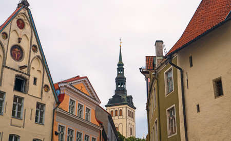 View of the old Tallinn streets and the St. Nicholas Church.