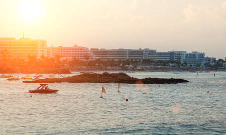 Fig Tree Beach in Protaras on sunset. One of the popular beaches in Europe.
