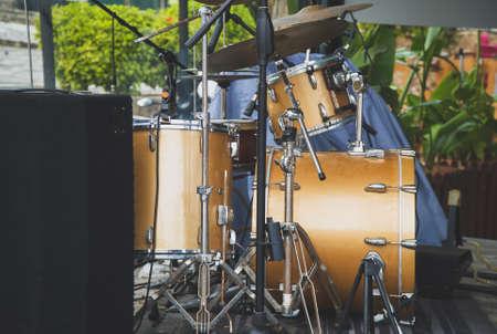 Outdoor drum set in a restaurant.