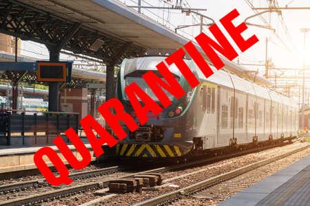 Train in railroad station in Northern Italy. Covid-19 quarantine concept.